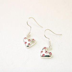 Cute Heart Earrings, Pink Rhinestones, Handmade 🌸